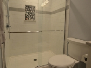 Fresh Eye-Catching Master/Hall Bath Makeover in Westerville